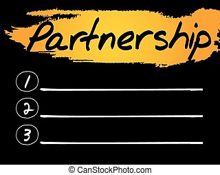 Partnership Blank List, vector concept background