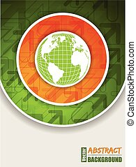 Orange green brochure with globe