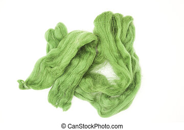 Olive green piece of Australian sheep wool Merino breed...