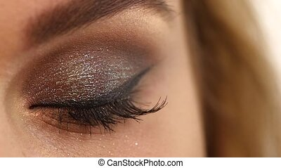 Eyelashes Cosmetic Eyeshadow close up, Slow motion - Eye...