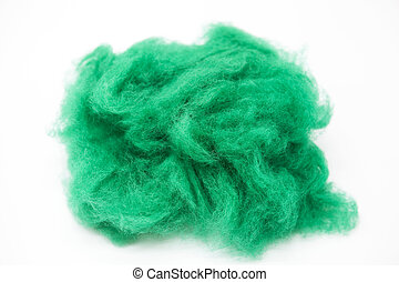 Emerald green piece of Australian sheep wool Merino breed...