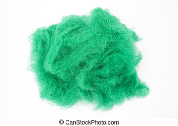 Emerald green piece of Australian sheep wool Merino breed...