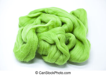 Lawn green piece of Australian sheep wool Merino breed...