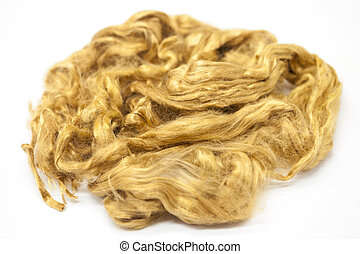 Saffron piece of Australian sheep wool Merino breed close-up...