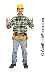 manual worker in showing pose