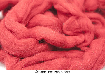 Cerise red piece of Australian sheep wool Merinos breed...