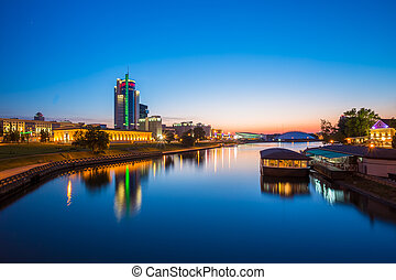 City center of Minsk at sunset. Night view of street in Minsk, B