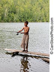 niño, Girar, pesca