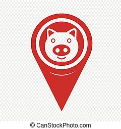 Map Pin Pointer Pig Icon