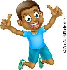 Cartoon Thumbs Up Boy Jumping - A happy cartoon young black...