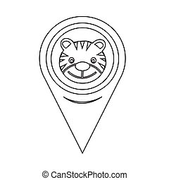 Map Pin Pointer Tiger Icon