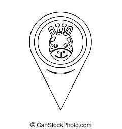 Map Pin Pointer Giraffe Face Icon