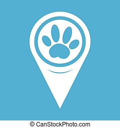 Map Pin Pointer Dog paw Icon