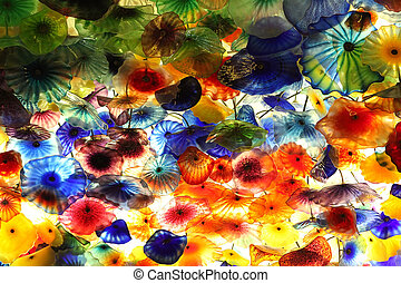 Decorative background - Decorative flowers made of glass as...