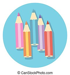 colour pencils circle icon with shadow.eps