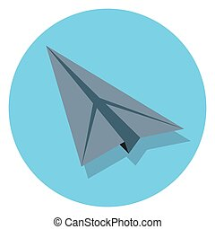 paper plane circle icon with shadow.eps