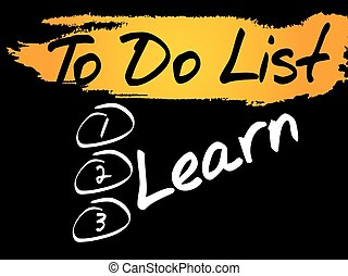 Learn in To Do List, vector concept background
