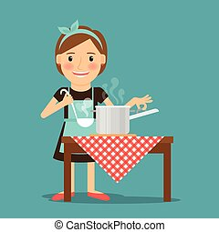 Mother cooking. Woman cooking in kitchen