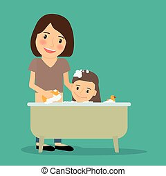 Mother bathing baby girl. Happy family time together. Vector...