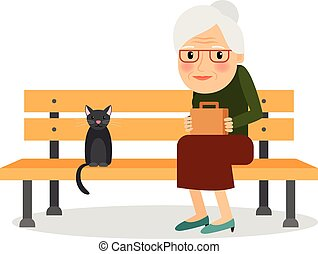 Elderly woman and cat sitting on park bench Rest and outdoor...