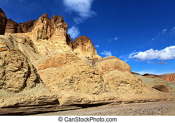 Rock formation in the Death Valley with sky on background