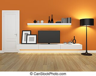 orange living room with tv stand an