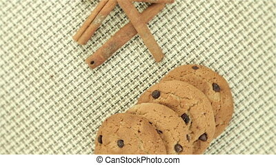Cookies and cinnamon on napkin, video