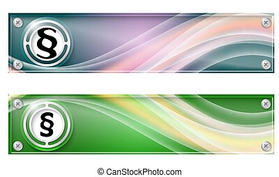 Set of two banners with colored rainbow and paragraph