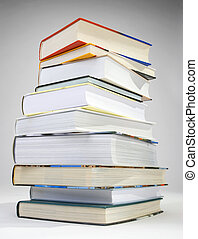 A pile of books - A pile of various color of hardcovered...