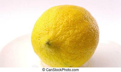 Yellow lemon turning on itself on a white background