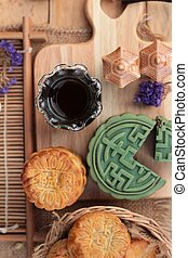 Festival moon cake - china dessert with green tea - Festival...