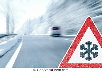 Winter Driving - Caution - Ice and snow on a country road....