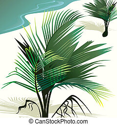 Coconut tree	 - Illustration of a coconut tree in a beach
