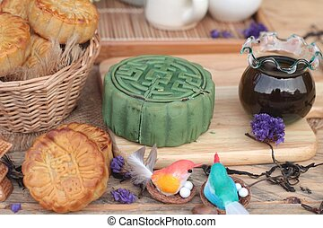 Festival moon cake - china dessert with green tea