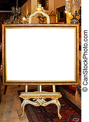 Photo easel - Floor easel with empty frame isolated included...