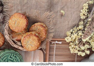 Festival moon cake - china dessert with green tea. -...