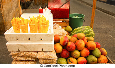Sale of fruits. Sale of fruits - Fruit stall in a street in...