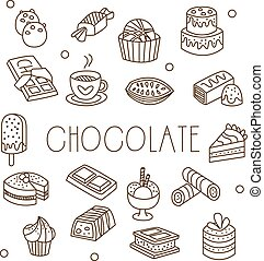Chocolate and Sweets in Handdrawn Style. Vector Illustration...