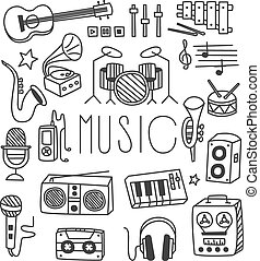 Musical Instruments in Handdrawn Style Vector Illustration...