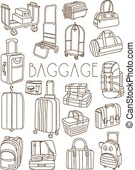 Travel Bags and Suitcases, Vector Hand Drawn Set