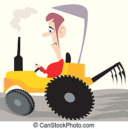 tractor	 - Illustration of a man driving tractor in a field