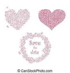Beautiful lacy floral hearts shape and frame