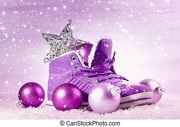 Purple shoe with Christmas decorations in the snow Christmas...