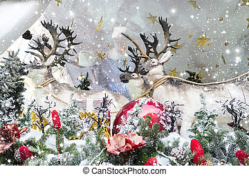Christmas background with Santa Claus and reindeer