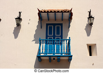 Detail of a colonial house. Typical balcony