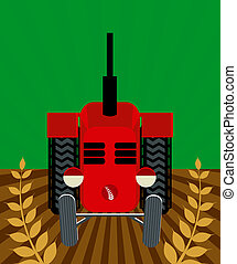 Tractor - Illustration of a tractor ploughing field