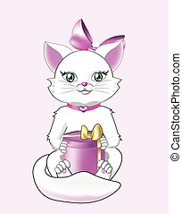 white cat with green eyes lerdit a pink gift