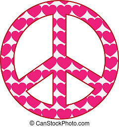 Heart Peace Sign - A peace sign filled with pink hearts