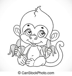 Cute baby monkey with banana outlined isolated on a white...