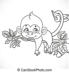 Cute monkey lazily lying on a branch and holds the tail of bananas outlines for coloring